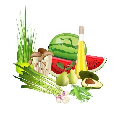 Fresh color bio health food. Vegetables, fruit, oil, mushrooms, herbs. Vector illustration