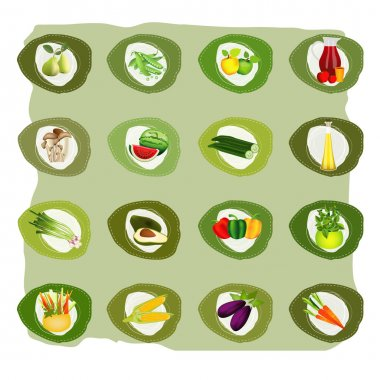 Set of green etiquettes. Vector bio health vegetable, fruit, oil and mushrooms stickers.