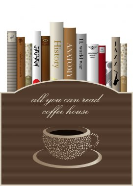 Coffee menu card design template with books. Vector illustration.