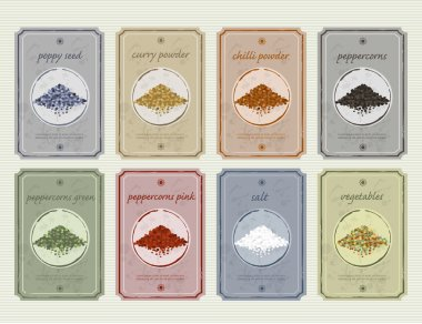 Retro vintage food and spices storage labels. Vector old fashioned etiquette colection.