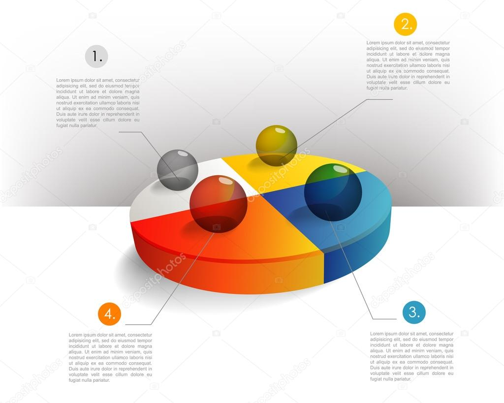 presentation template circle graph with a 3d glass balls. pie chart