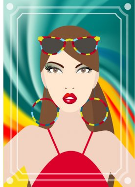 Young woman at the disco looking into the mirror. Vector illustration.