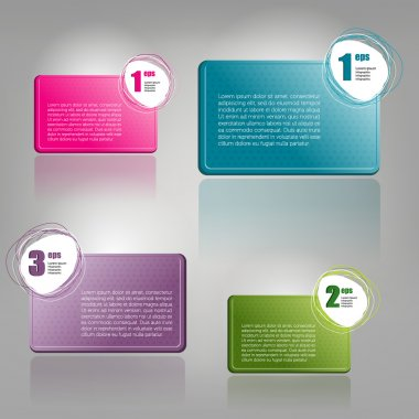 Set of Colorful Bubbles for Speech Vector Design. 1,2,3 steps text boxes. Infographic.
