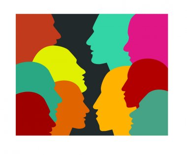 Men profile silhouette group. Vector illustration.