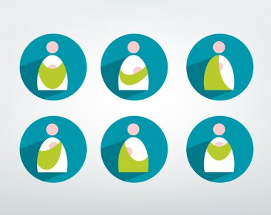 Baby carry in bag icon set. Alternative baby wearing sign shape.