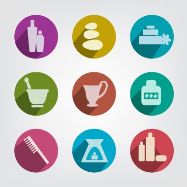 Set of wellness, spa and body care icons. Relax pictogram set.
