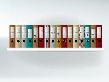 Folder shelf. Bookcase. Furniture.