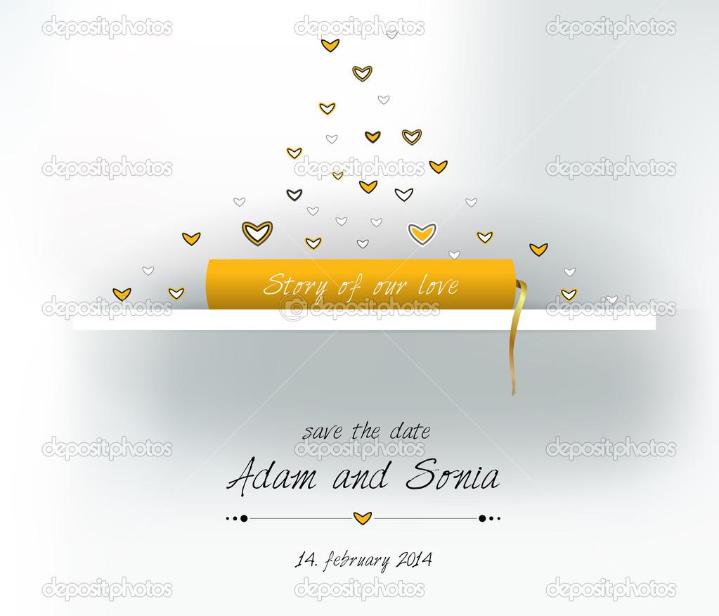 Einladung Oder Hochzeit Papier Karte. Hintergrund Vorlage U2014 Vektor Von Kubko