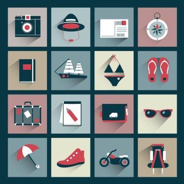 Retro traveler flat icon collection. Vector sign.