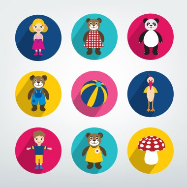 Collection of kids flat icon. Colorful toys pictograms.