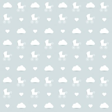 Minimalistic repeat kids wall paper decor. Soft blue color background.