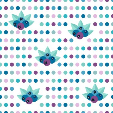 Simply flat polka fruit dot pattern. Bilberries design. Fresh design wall paper in cold color.