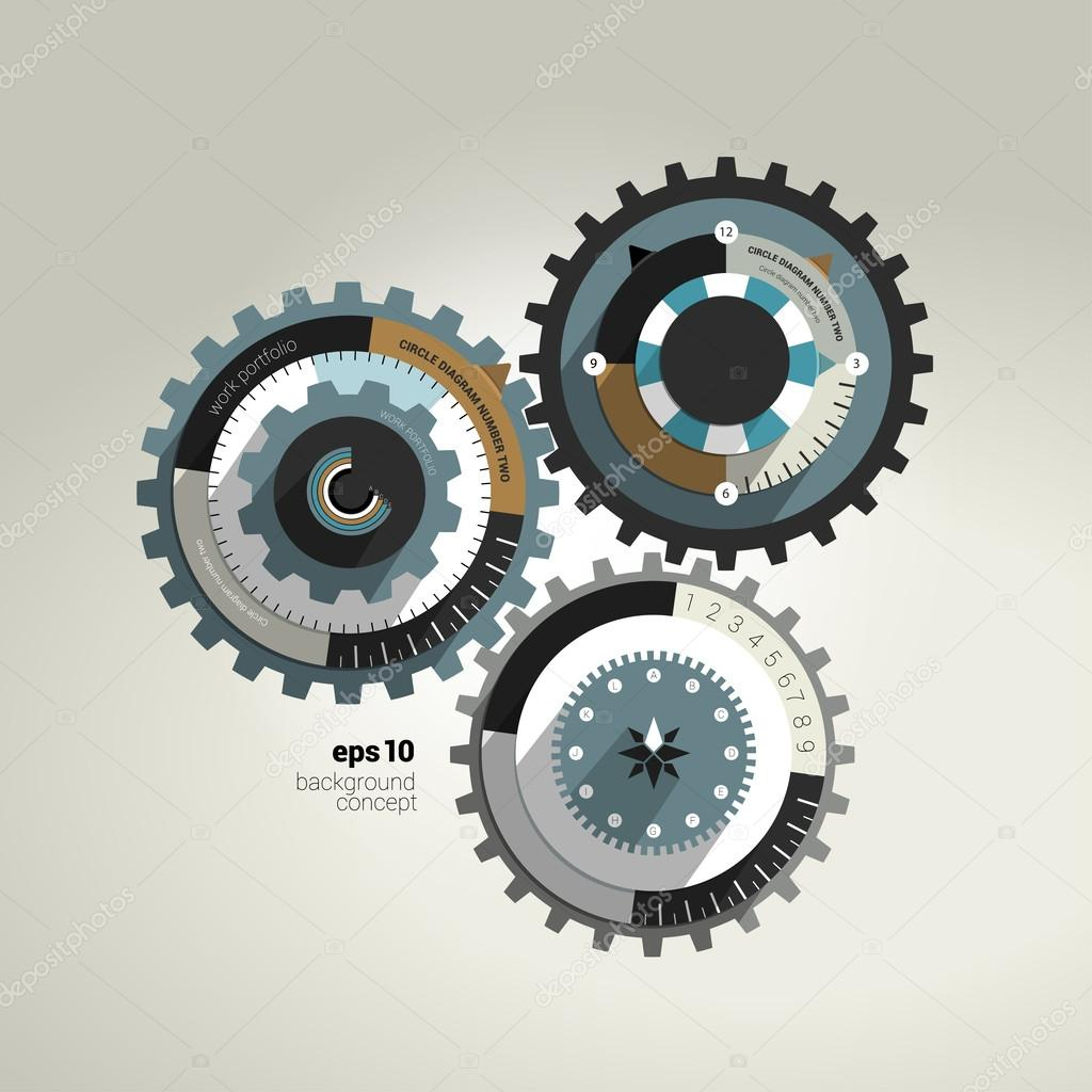 Exclusive circle flat infographic diagram. Business cog wheel template concept for brochure, catalog, portfolio, blog, annual report, cover, web page, print media. Vector background illustration.