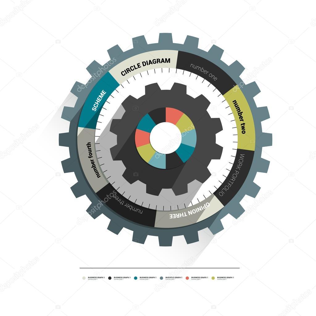 Info graphic circle diagram. Cog wheel.
