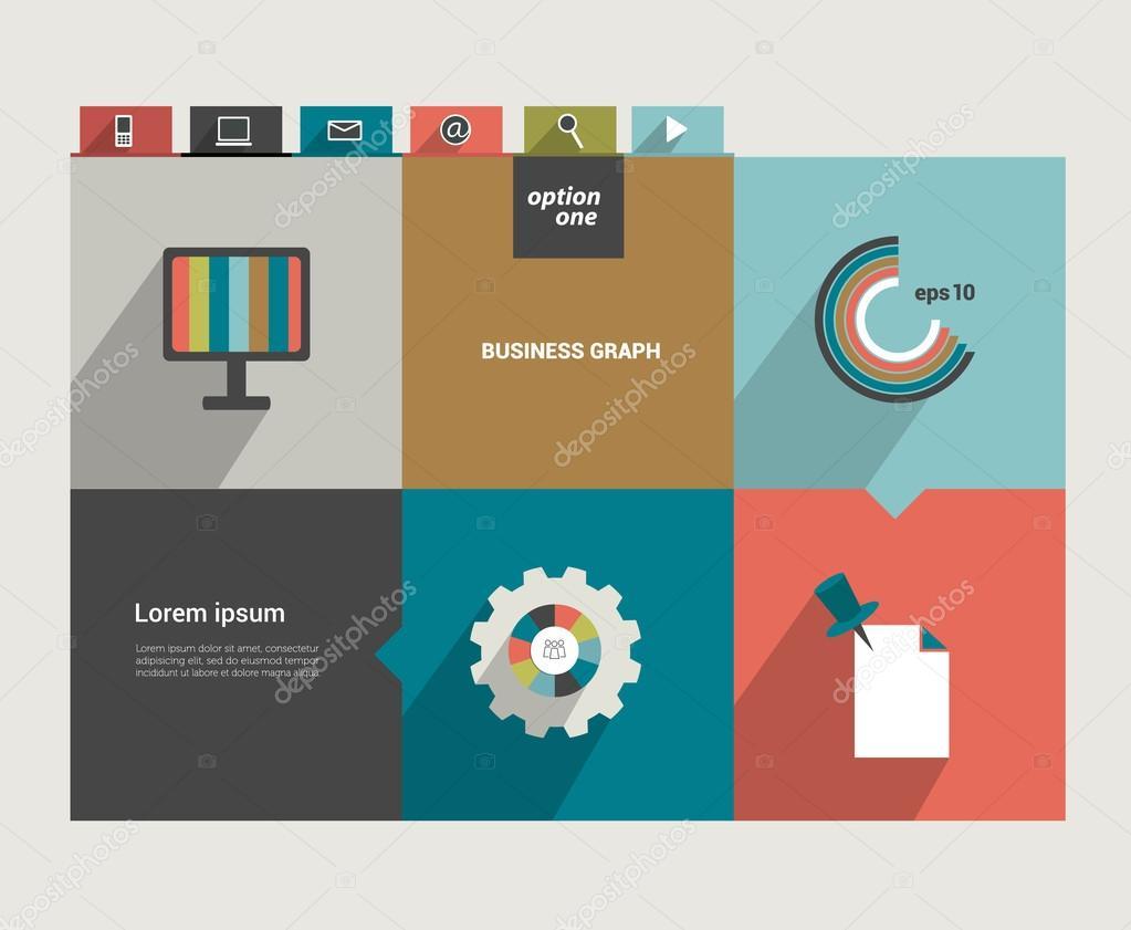 moderne flache Website Vorlage. bunte minimalistischer Option ...