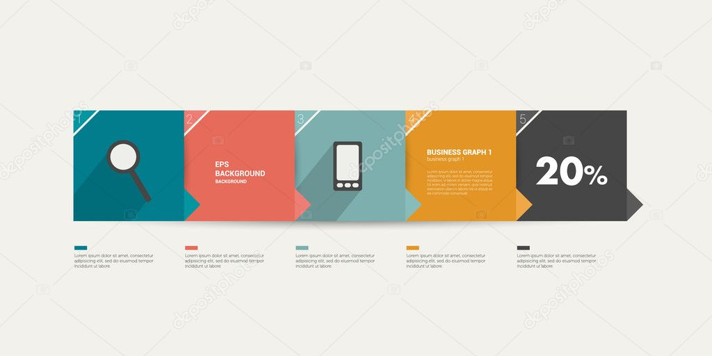 Step tutorial template for infographic. Minimalistic flat 5 steps ...