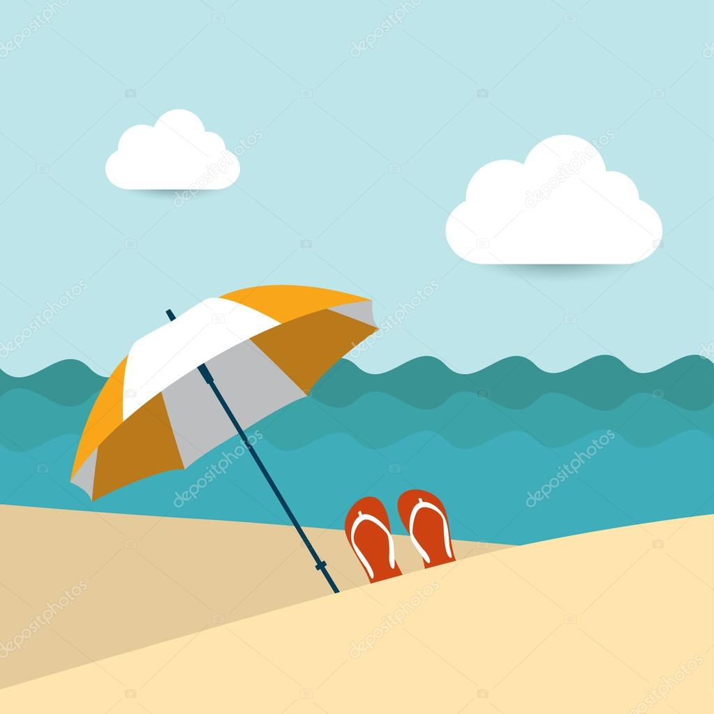 Sunlight beach day. Umbrella on tropical island. Vector background illustration.
