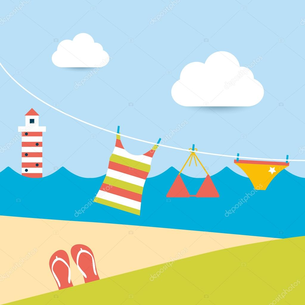 Summer clothes hanging on the washing line. Summer beach background.