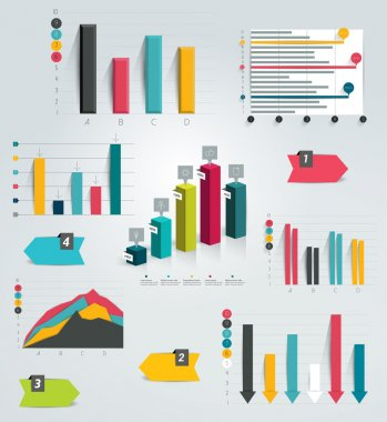 Big set of infographic charts. Vector.