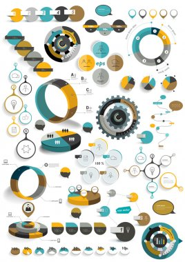 Big set of round infographic templates. Vector diagrams, schemes, charts, banners, step by step tutorials.