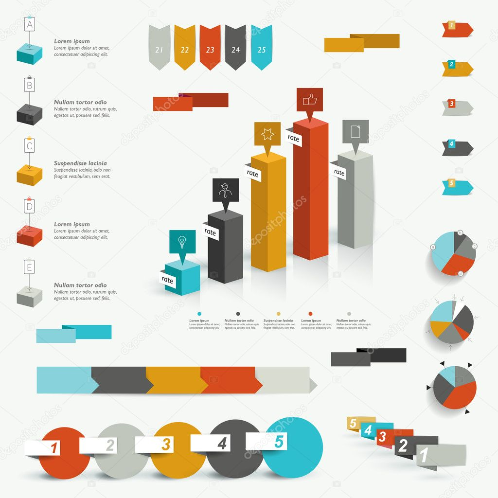 Collection of colorful infographic elements. Business vector shapes.