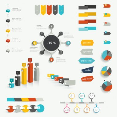 Set of infographic elements. Diagrams, speech bubbles, graphs, pie circle charts and icons. Vector shapes.