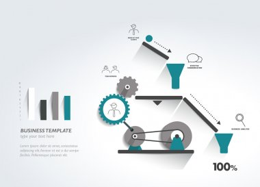 Moving working mechanism. Infographics robotic diagram. Vector illustration.