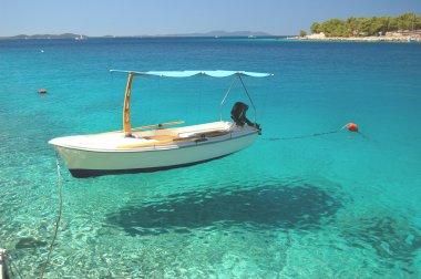 Boats in a quiet bay of Milna on Brac island, Croatia