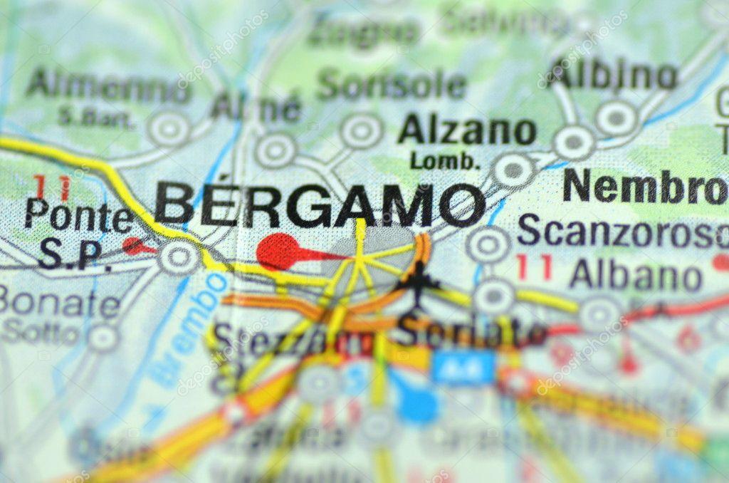 bergamo italia mapa Bergamo italia mapa   Bergamo en Italia en el mapa — Foto  bergamo italia mapa