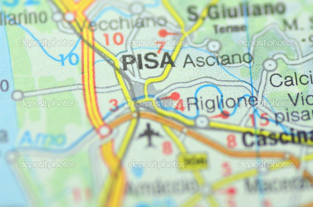 Pisa Karte.Pisa In Italien Auf Der Karte Redaktionelles Stockfoto Dariosz