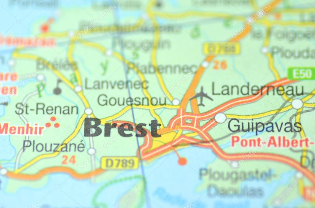 Brest In France On The Map Stock Editorial Photo C Dariosz 38926135