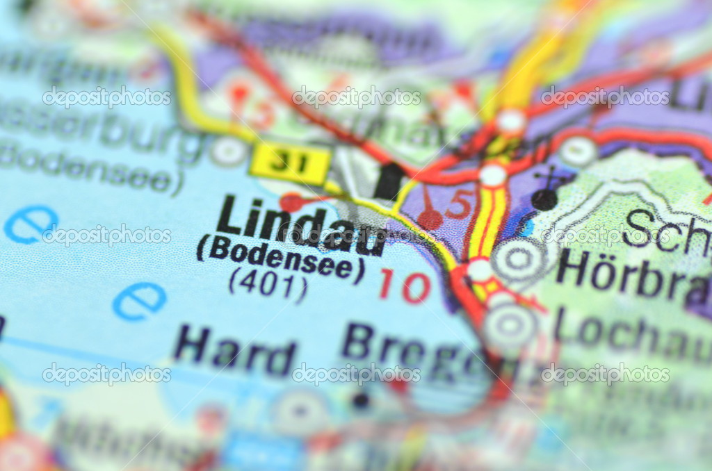 Lindau Germany Map.Lindau On Lake Bodensee In Germany On The Map Stock Editorial