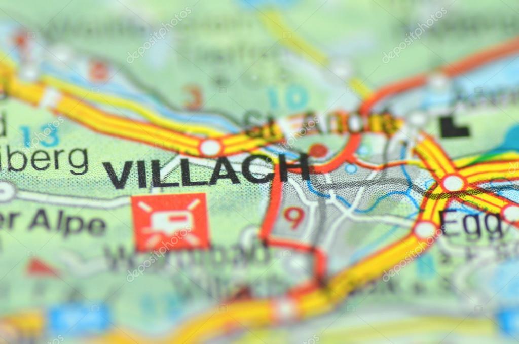 Villach in Austria on the map Stock Editorial Photo DarioSz