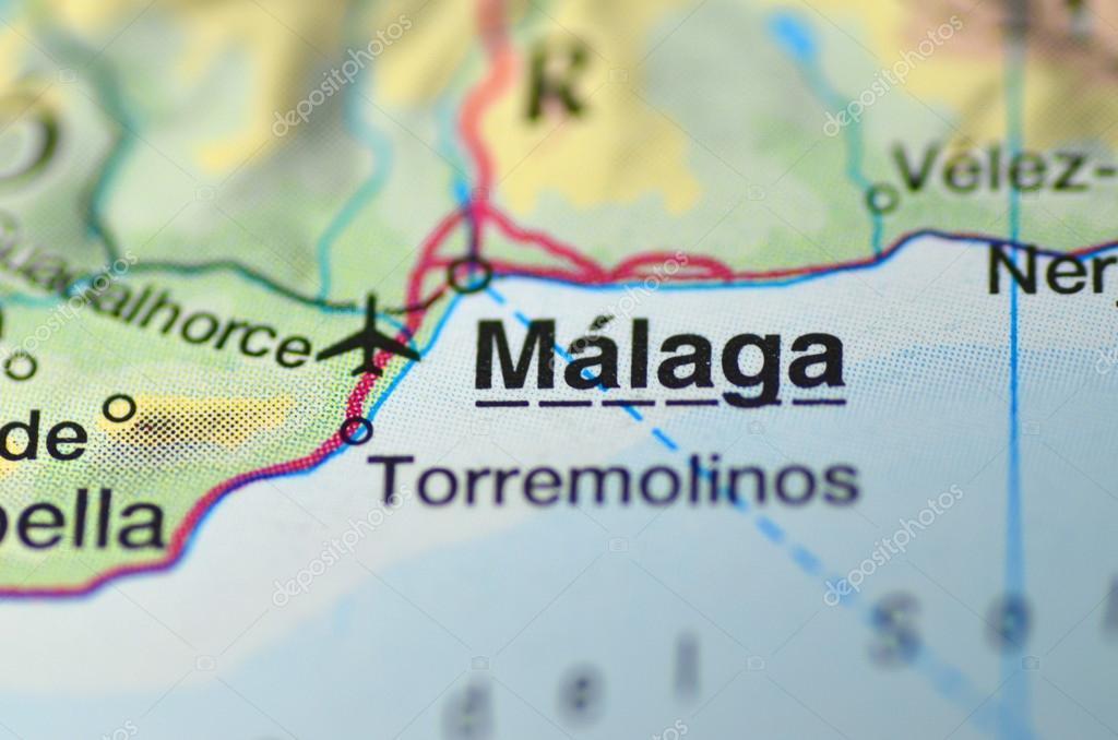 Malaga Altstadt Karte.Malaga In Spanien Auf Der Karte Redaktionelles Stockfoto