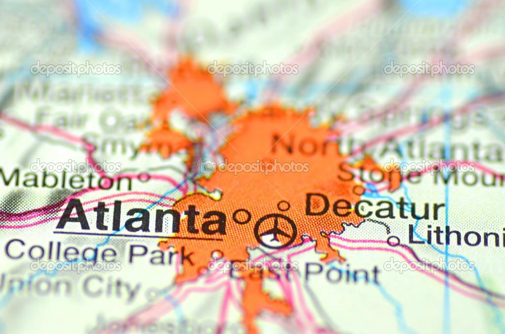 Atlanta Georgia In The USA On The Map Stock Editorial Photo - Atlanta usa map