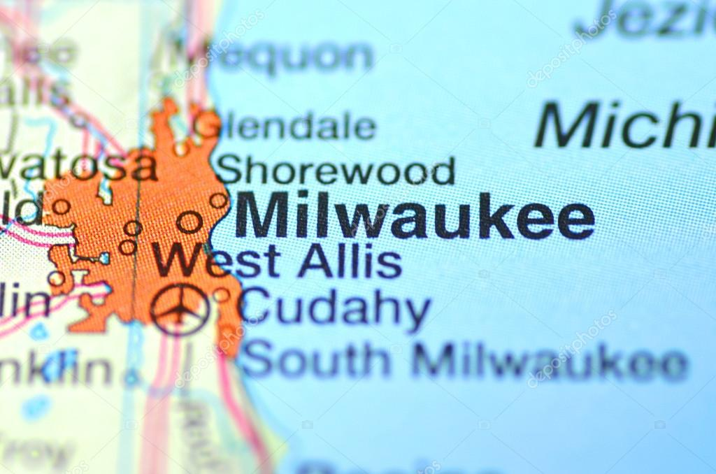 Milwaukee Wisconsin In The Usa On The Map Stock Editorial Photo