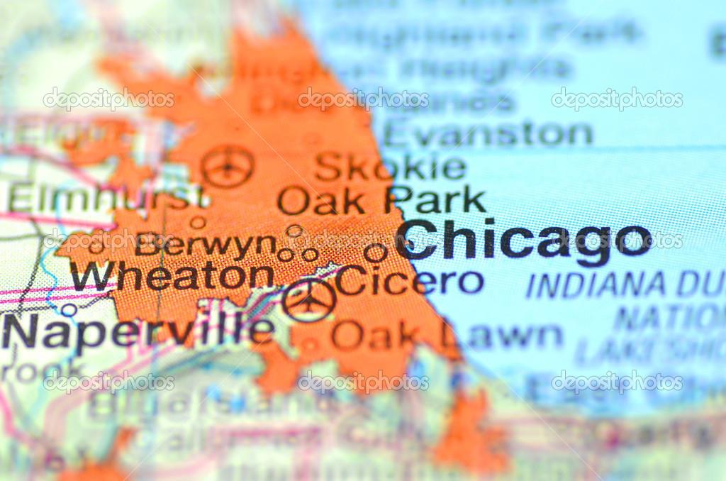 Chicago Illinois Nos Estados Unidos No Mapa Fotografia De - Mapa de illinois