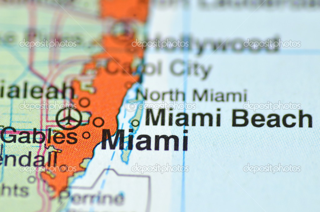 Miami Florida In The Usa On The Map Stock Po 39265885