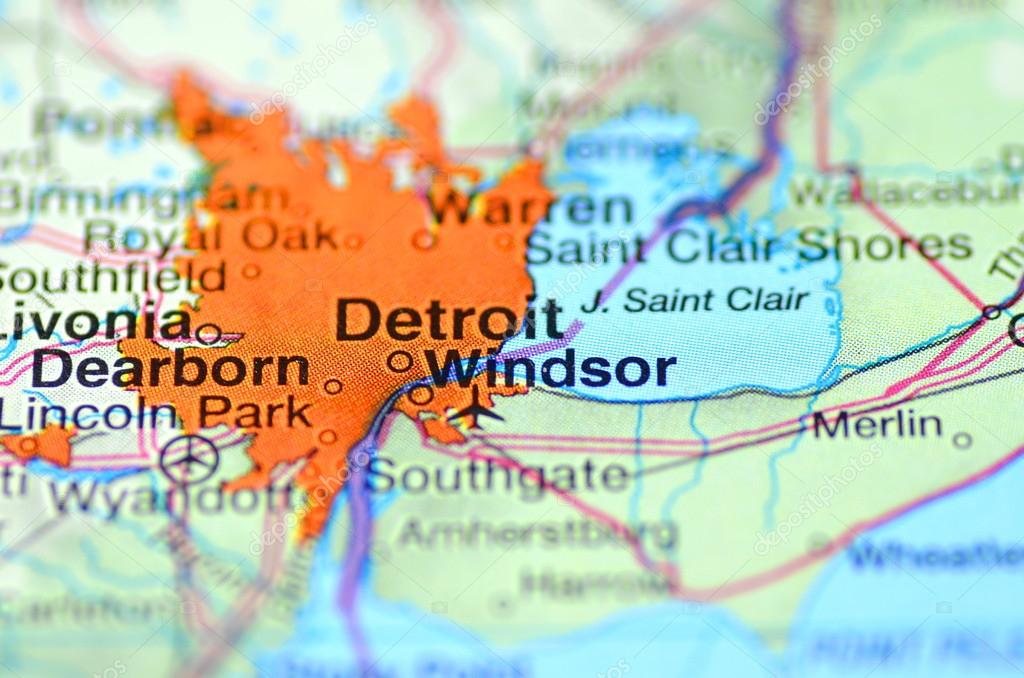 Detroit Michigan In The USA On The Map Stock Editorial Photo - Michigan in usa map