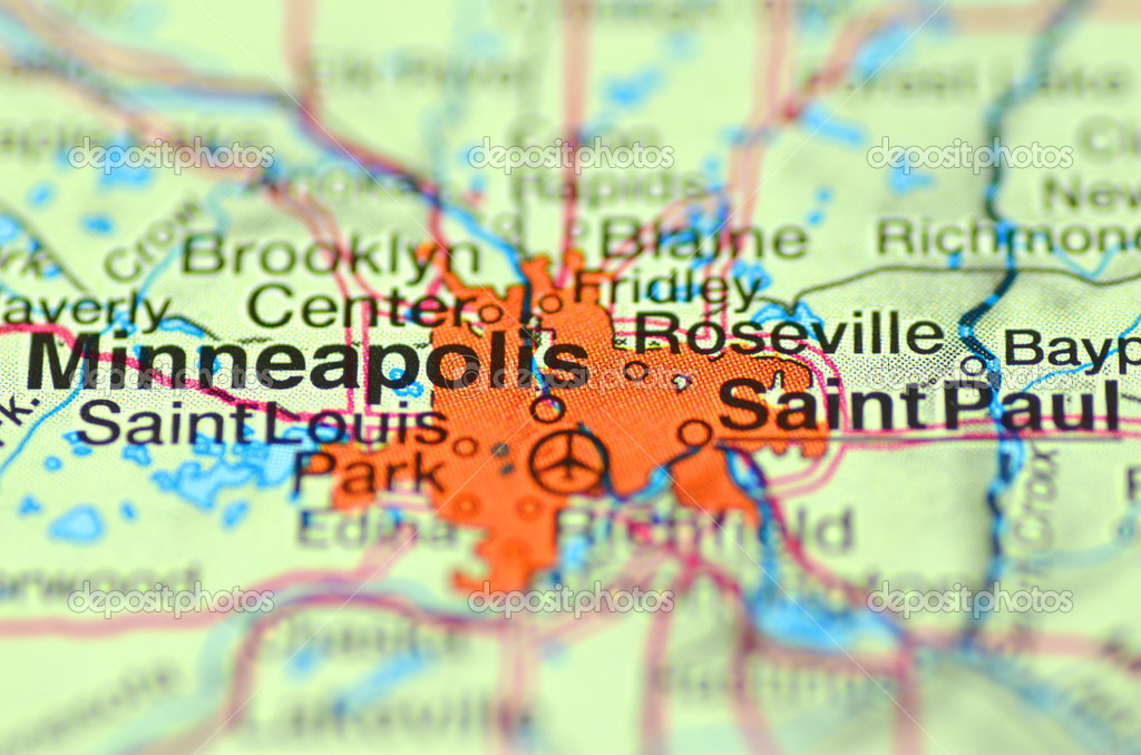 A closeup of Minneapolis, Minnesota in the USA on a map ...
