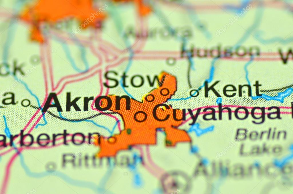 A Closeup Of Akron Ohio In The Usa On A Map Stock Editorial Photo