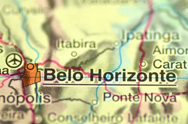 A closeup of Belo Horizonte in Brazil in south America on the map