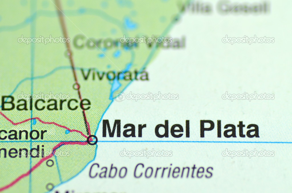 A closeup of Mar del Plata in Argentina south America on a map