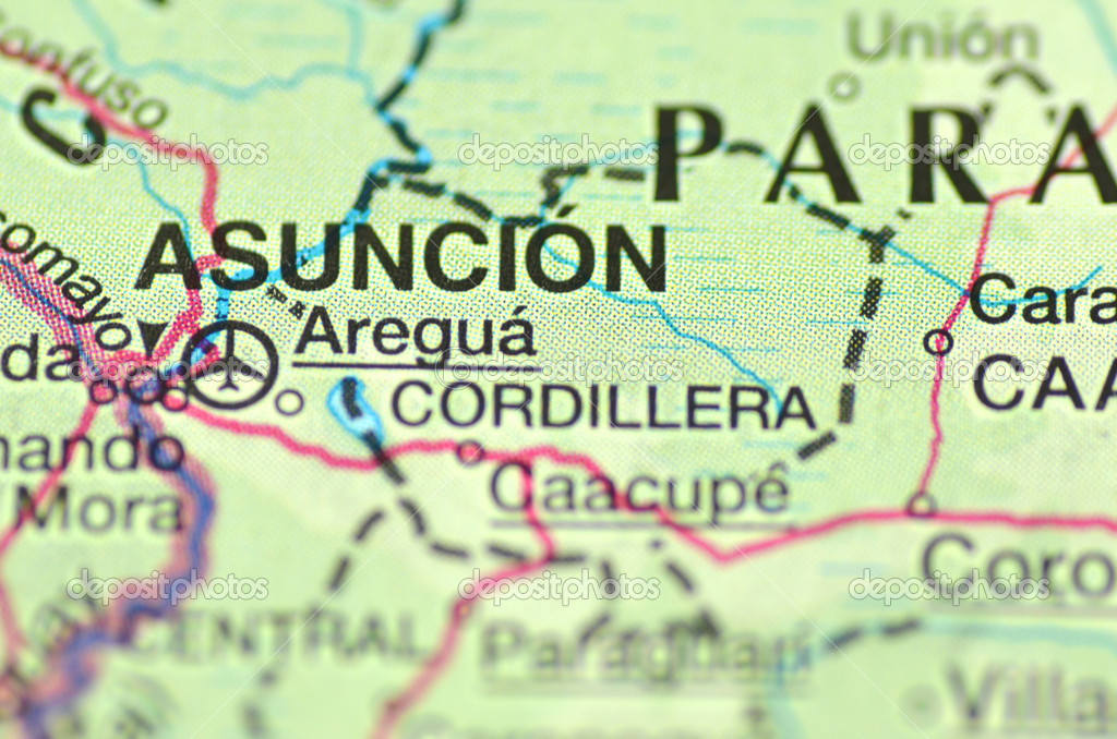 A closeup of Asuncion in Paraguay south America on a map Stock