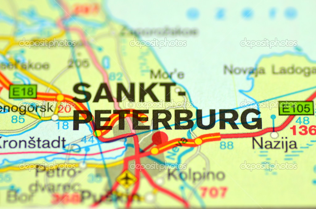 A Closeup Of St Petersburg In Russia On A Map Stock Editorial