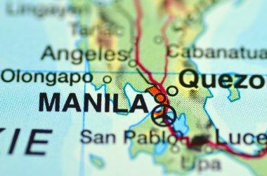 A closeup of Manila in Philippines on a map