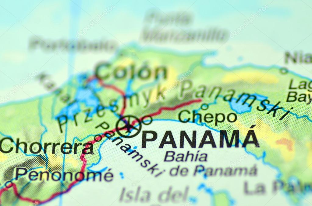 A closeup of Panama in central America on a map – Stock ...