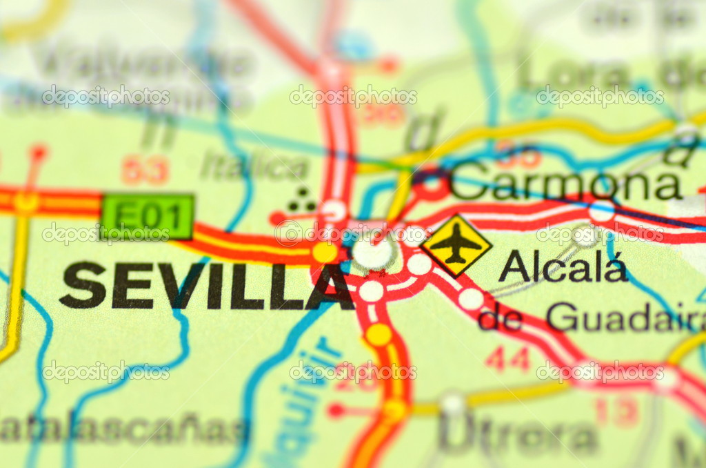 A Closeup Of Sevilla In Spain On A Map Stock Editorial Photo