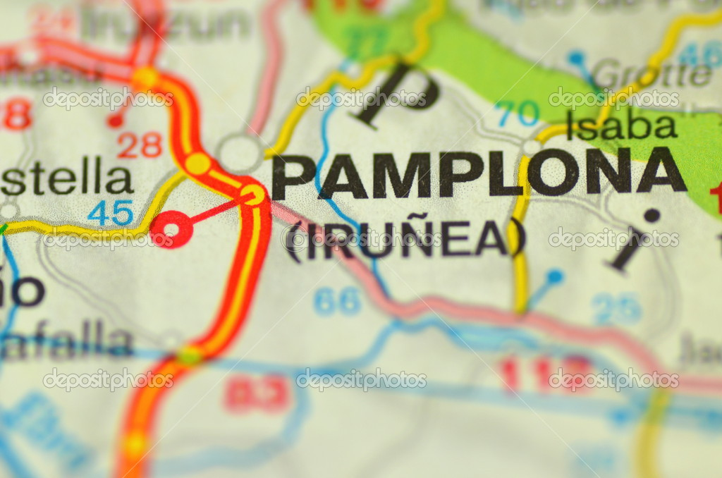 A Closeup Of Pamplona In Spain On A Map Stock Editorial Photo