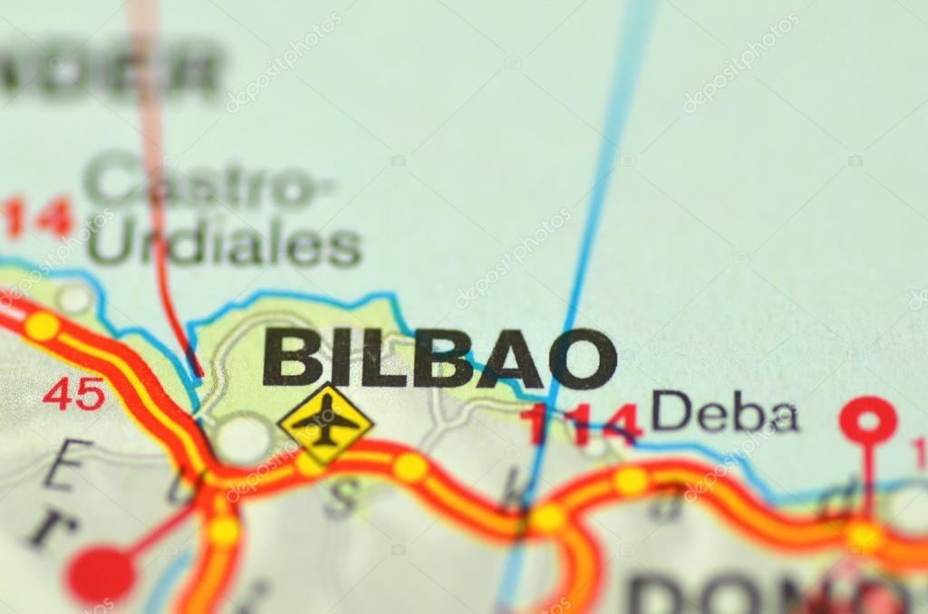 Een Close Up Van Bilbao In Spanje Op Een Kaart Redactionele